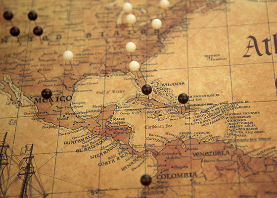 World Pin Board Travel Map - Golden Aged Style