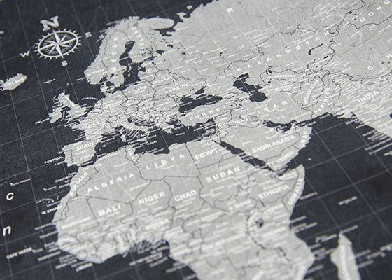 World travel map poster modern slate conquest maps world travel map poster gumiabroncs Image collections