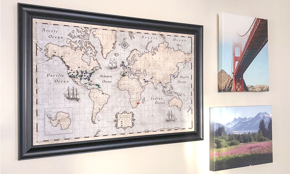 World & USA Pin Board, Pins & Posters Travel Maps | Conquest Maps