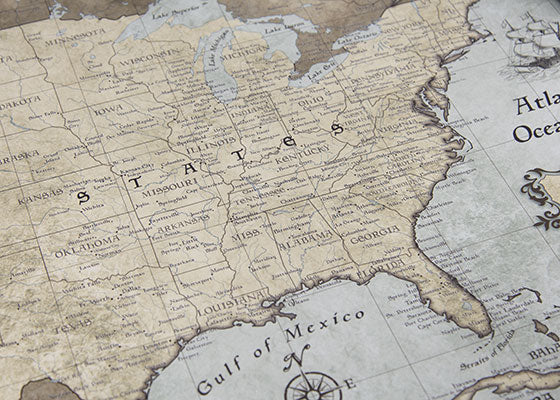 USA Travel Map Poster Rustic Vintage Conquest Maps