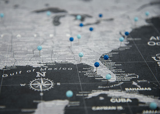 USA Travel Map Personal Pinning with Push Pins