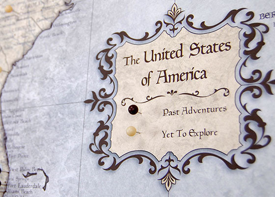 USA Travel Map Custom Legend with Push Pins