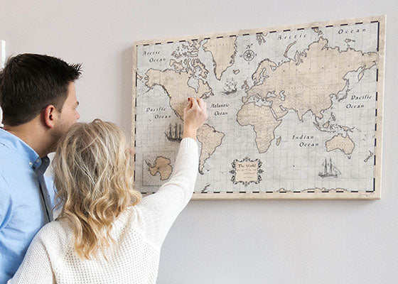 World Travel Map Anniversary Pinning with Push Pins