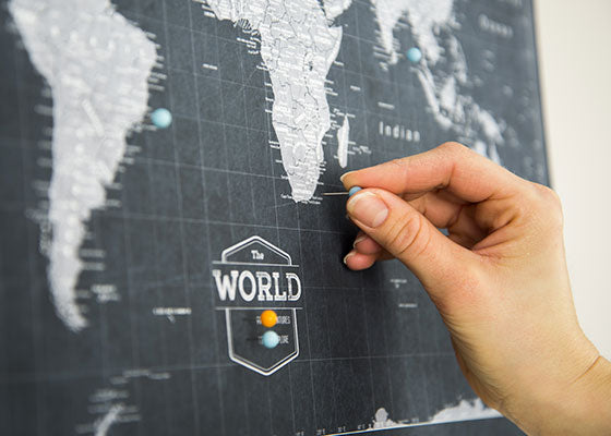 World Travel Map Pin Board wPush Pins Modern Slate Conquest Maps – Personal Travel Map