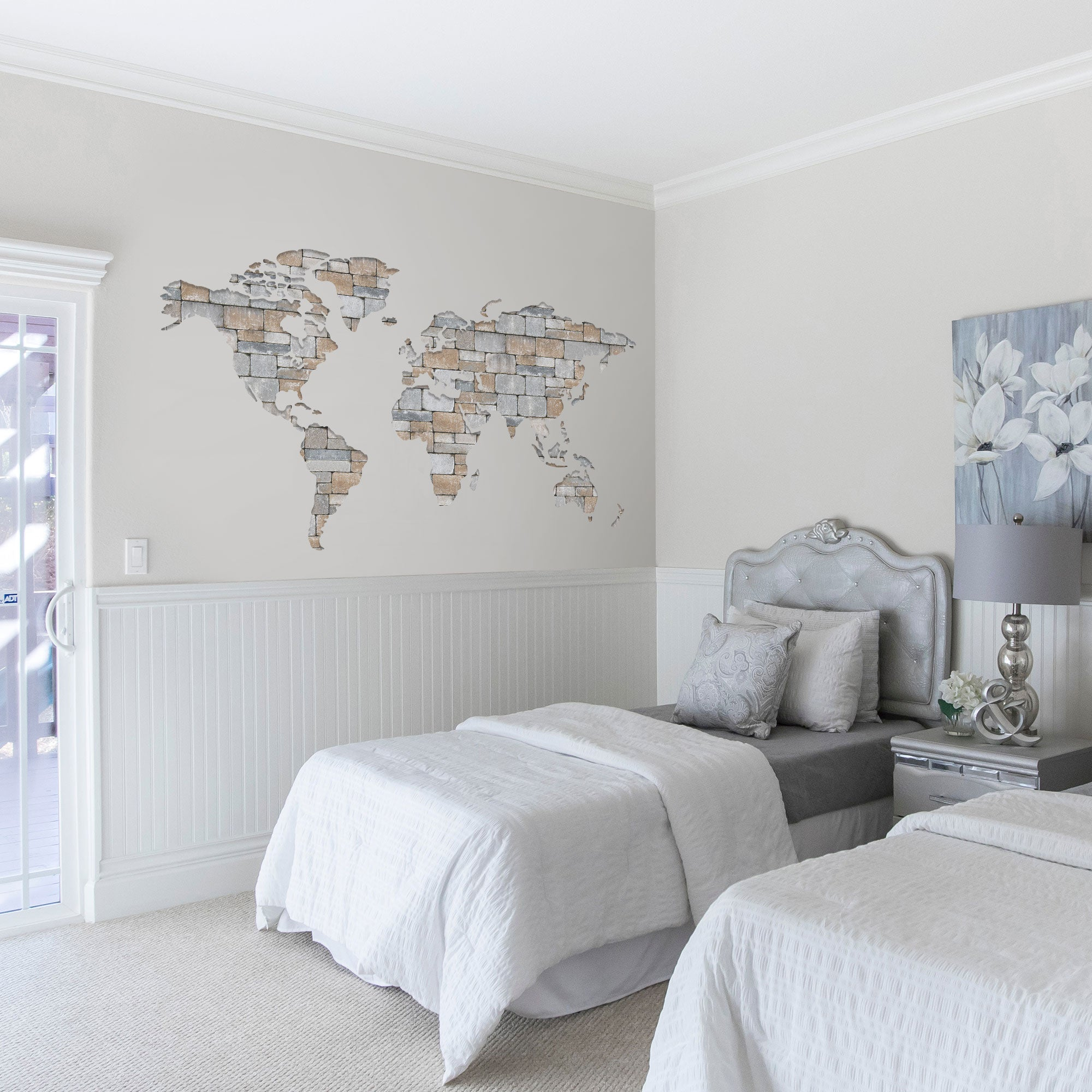 World Map Textured Graphic Wall Decal on