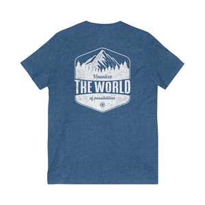 Heather True Royal Conquest Maps Visualize the World of Possibilities Unisex V-Neck Tee