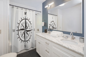Compass Shower Curtain in bathroom
