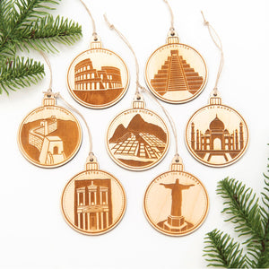 7 Wonders of the World - Wooden Christmas Ornament Set