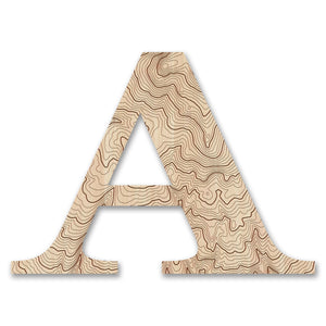 Wood Letters with Laser-Etched Topographic Map A