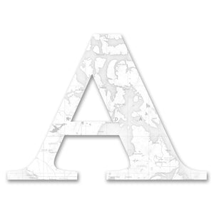 Wood Letters with White Map Print A