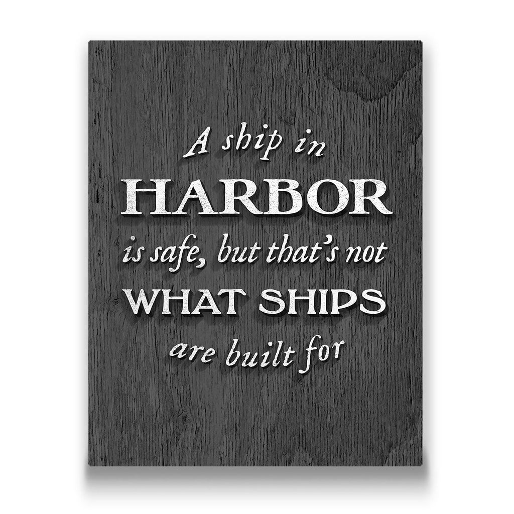 A Ship In Harbor Travel quote Canvas Art Thumbnail