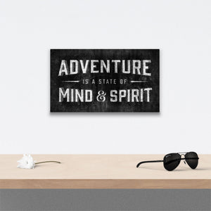 Adventure is a state of mind Canvas Art over table with flower and sunglasses