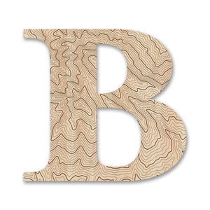 Wood Letters with Laser-Etched Topographic Map B