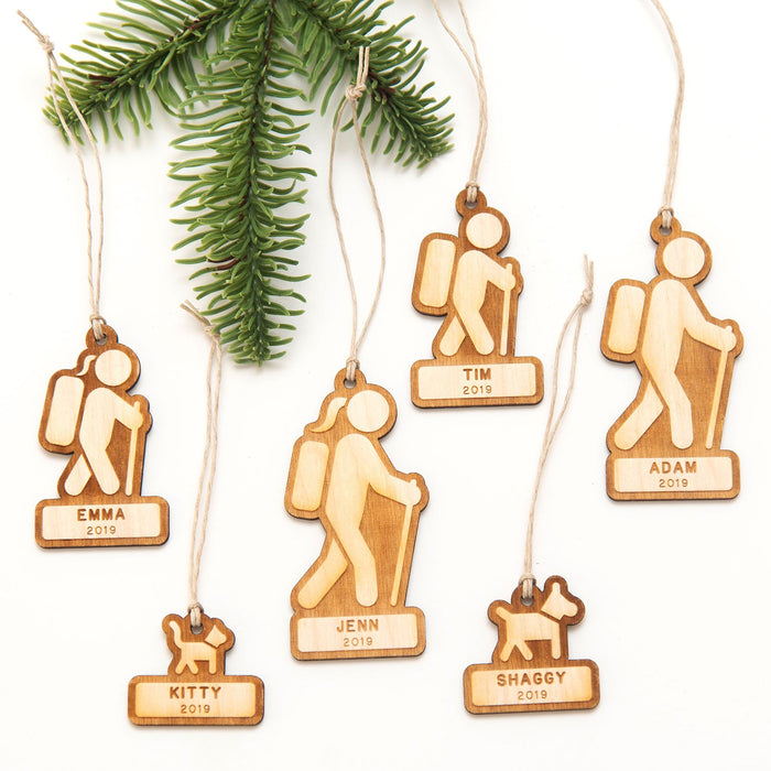 Family Backpackers (Customizable) - Wooden Christmas Ornament