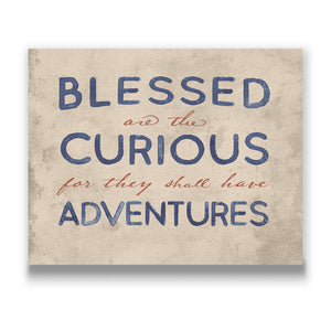 Blessed Are The Curious Travel quote Canvas Art Thumbnail