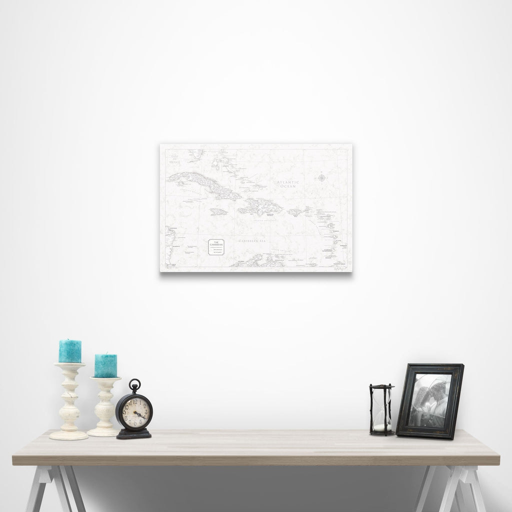 Push Pin Caribbean Map - Classic Marble