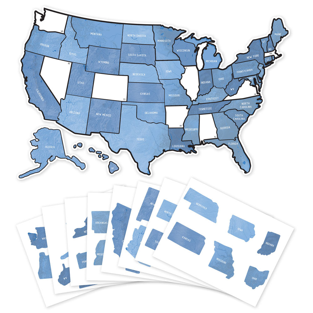 US State Travel Map Decal - Blue