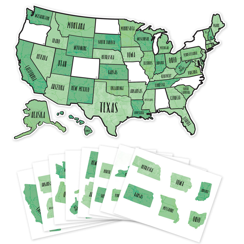 US State Travel Map Decal - Green