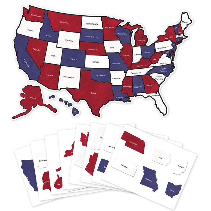 US State Travel Map Decal - Red, White & Blue