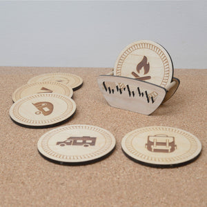 Wooden camping coasters