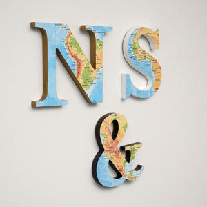 Wood Letters with Color Map Print