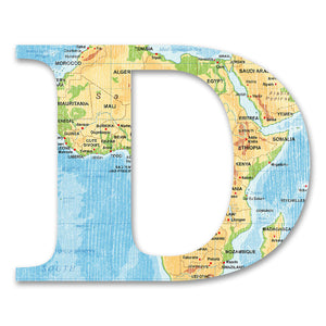 Wood Letters with Color Map Print D