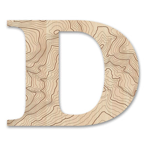 Wood Letters with Laser-Etched DTopographic Map