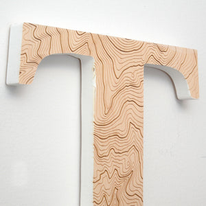 Wood Letters with Laser-Etched Topographic Map