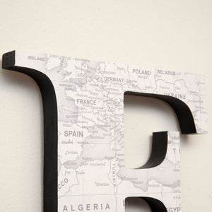 Wood Letters with White Map Print
