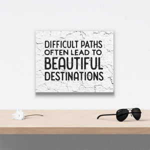 Difficult Paths Canvas Art over table with flower and sunglasses