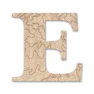 Wood Letters with Laser-Etched Topographic Map E