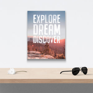 Explore Dream Discover Canvas Art over table with flower and sunglasses