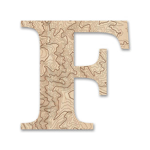Wood Letters with Laser-Etched Topographic Map F