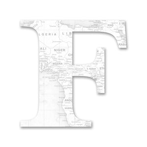 Wood Letters with White Map Print F