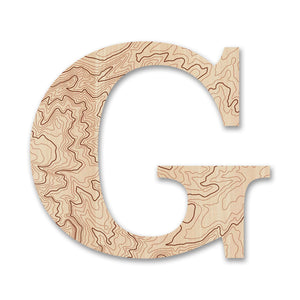 Wood Letters with Laser-Etched Topographic Map G
