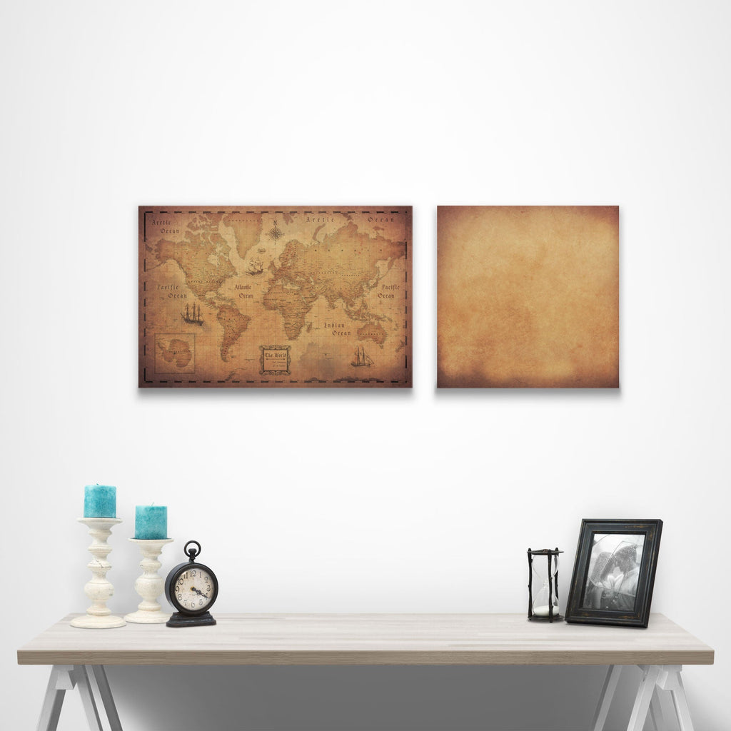 Map Complement Pin Board - Golden Aged