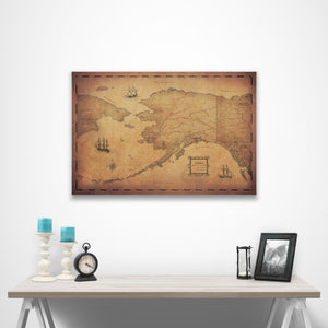 Golden Aged Alaska state map pin board with pushpins over a table