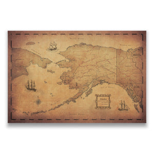 Golden Aged Alaska state map pin board with pushpins