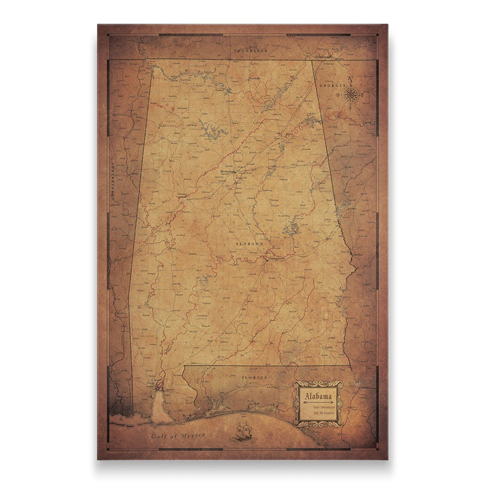Alabama Travel Map Pin Board w/Push Pins - Golden Aged