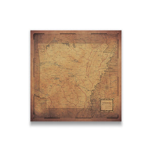 Golden Aged Arkansas state map pin board with pushpins