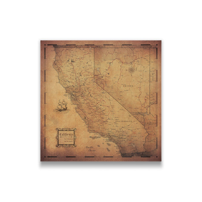 California Travel Map Pin Board w/Push Pins - Golden Aged