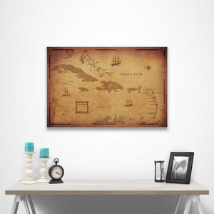 Golden Aged Caribbean Pin Board Map over a table