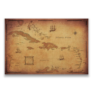 Caribbean Travel Map Pin Board w/Push Pins - Golden Aged