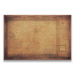 Golden Aged Colorado state map pin board with pushpins