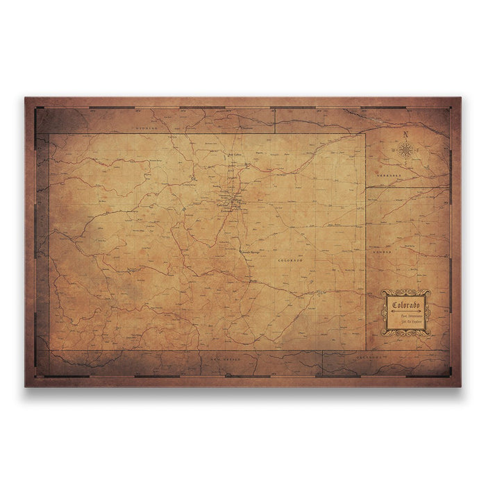 Colorado Travel Map Pin Board w/Push Pins - Golden Aged