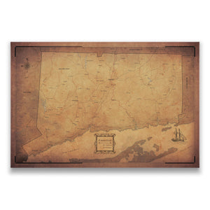 Golden Aged Connecticut state map pin board with pushpins