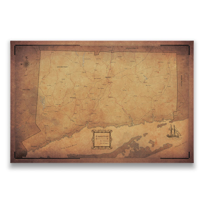 Connecticut Travel Map Pin Board w/Push Pins - Golden Aged