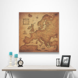 Europe Travel Map Pin Board w/Push Pins - Golden Aged