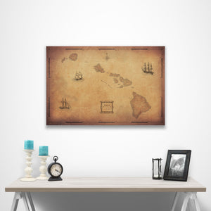 Golden Aged Hawaii state map pin board with pushpins over a table