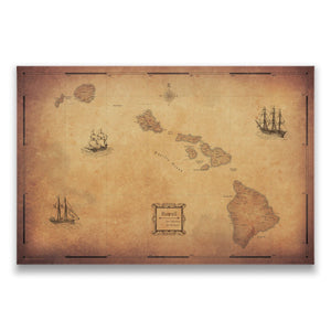 Golden Aged Hawaii state map pin board with pushpins